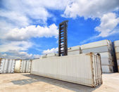 Forklift handling the reefer container box at dockyard — Foto Stock