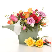 Colorful of rose in a plastics watering can with king scissors on table — Stock Photo