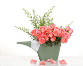 Pink roses in a plastics watering can on table — Stock Photo