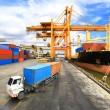 Industrial Container Cargo freight ship with working crane bridg — Stock Photo