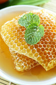 sweet honeycombs with mint leaf — Стоковое фото