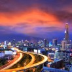 Bangkok city day view with main traffic at twilight — Stock Photo