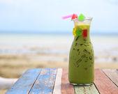 Ice Green tea jelly on the table  — Stock Photo