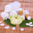 Stock Photo: Spmassage setting with towel, thai herbal compress stamps and