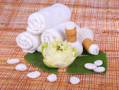 Spa massage setting with towel, thai herbal compress stamps and — Foto de Stock