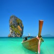 Boat in azure lagoon — Stock Photo #42105249