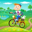 Boy on the bike — Stock Vector