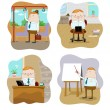 Office workers in different situations — Stock Vector