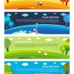 Four seasons. Vector. — Stock Vector