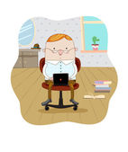 Businessman with laptop — Stock Vector