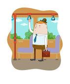 Homme d'affaires dans le bus — Vecteur
