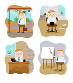 Employés de bureau dans les différentes situations — Vecteur