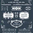 Vintage banners and labels set with decorative elements. Vector. — Image vectorielle
