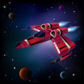Nave espacial, los planetas y el espacio. — Vector de stock