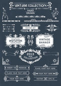 Vintage banners and labels set with decorative elements. Vector. — Stock Vector