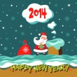 Greeting Christmas and New Year card. — Imagen vectorial