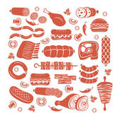 Meat icon set — Stock Vector