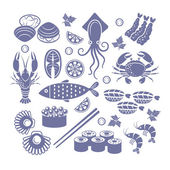 Seafoods icon set. — Stock Vector