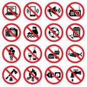 Forbidden signs — Stock Vector