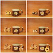 Ceramic mug collage — Stock Photo