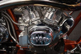 Motorcycle engine chrome — Stock Photo