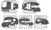 Iconos de vehículos recreativos — Vector de stock