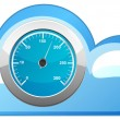 Blue cloud icon with the speedometer — Stock Vector