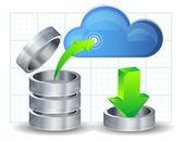 Przesyłanie danych do chmury — Wektor stockowy