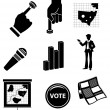 Election Campaign Icon Set — Stock Vector