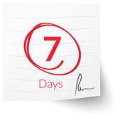 Deadline Note 7 Days — Stock Vector