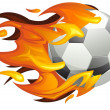 Stock Vector: Football on Fire