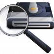 Magnifying Glass Searching in Database icon — Stock Vector