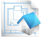 Architectural Blueprint Icon — Stock Vector