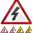 Stock Vector: High Voltage Alert Sign