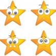Stock Vector: Yellow stars with happy emotions