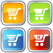 Shopping Cart Icon with Button Base — Stock Vector