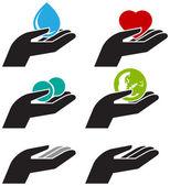 手提供保存图标 — 图库矢量图片