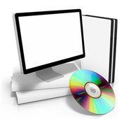Dvd boxes with disc & monitor with package box — Stock Photo