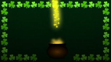 St Patrick Day Magic Cauldron with a fountain of Shamrock — Stock Video