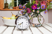 Old alarm clock in summer garden — Stock Photo
