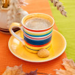 Autumn coffee cup — Stock Photo