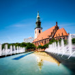 Fountains on Alexanderplatz and St. Mary's Church — Stock Photo