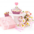 Birthday presents on white background — Stock Photo