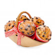 Choc chip muffins in a basket — Stock Photo