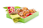 Choc chip muffins in a wooden tray — Stock Photo