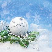 Snow-white Xmas decorations — Stock Photo