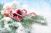 Red and white Christmas decorations — Stock Photo