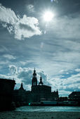 Dresden Old Town in counterlight — Stock Photo