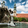 Neptin fountain in front of Marienkirche — Stock Photo