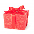 Red gift box isolated on white — Stock Photo